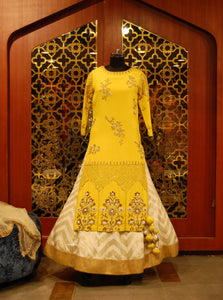 Yellow Embroidered Shirt and Ivory Gold Skirt