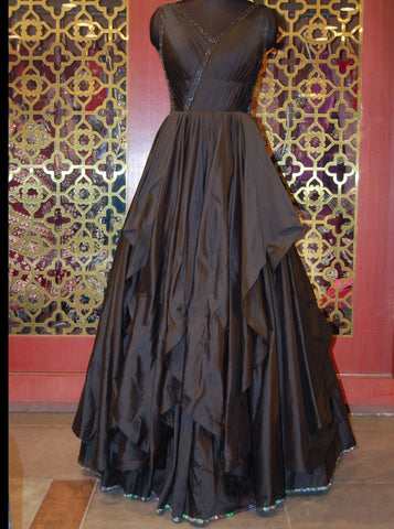 Black Ruffled Silk Gown