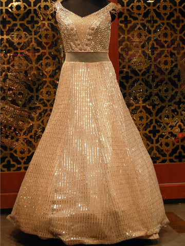Beige Embroidered Silk Gown with silver detailing