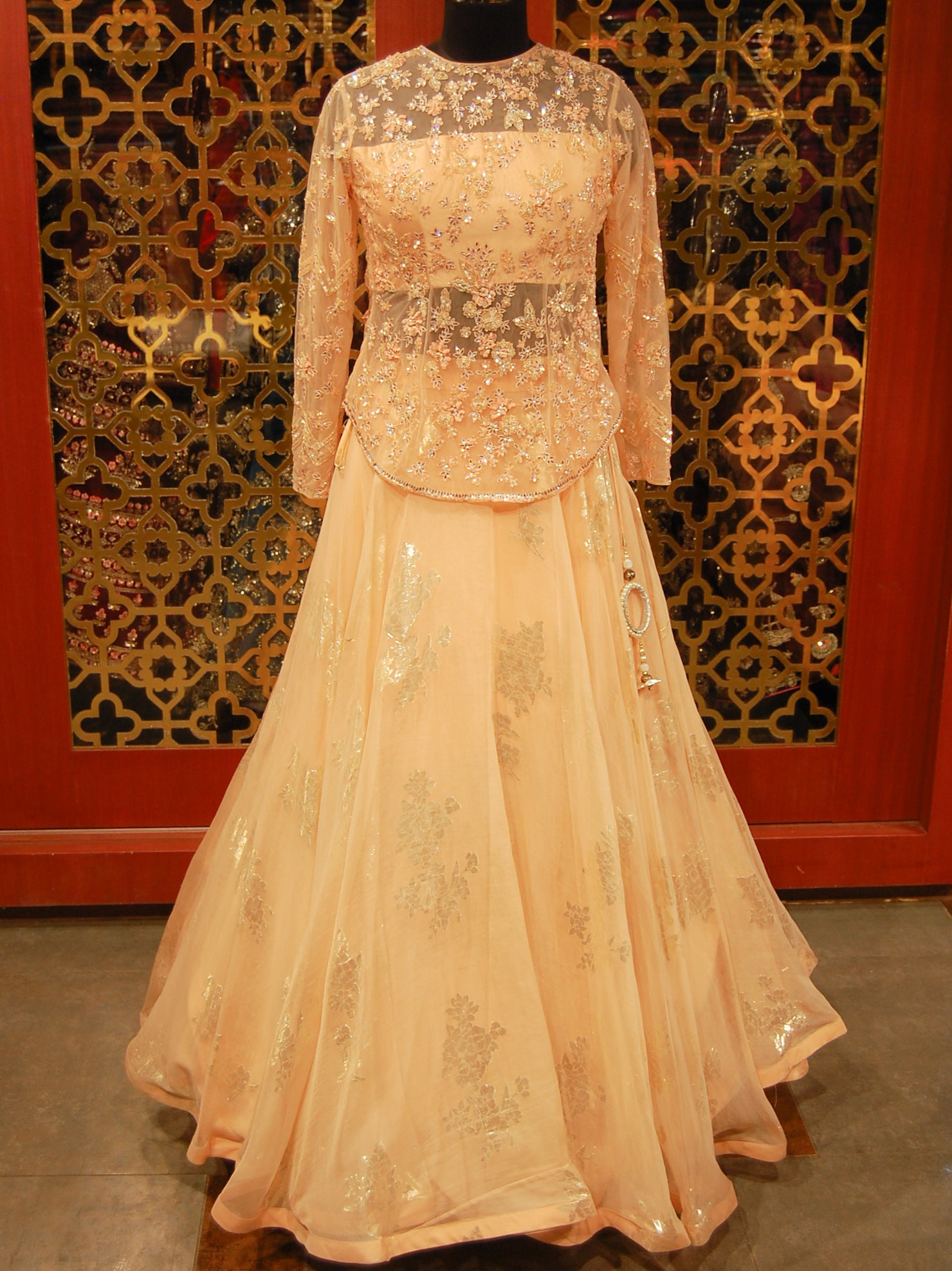 Peach Organza and net Lehenga