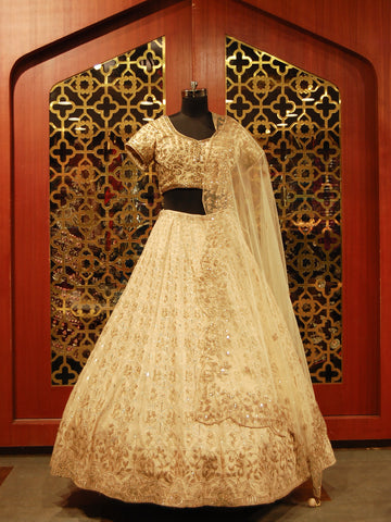 Champagne Gold Silk embroidered Lehenga