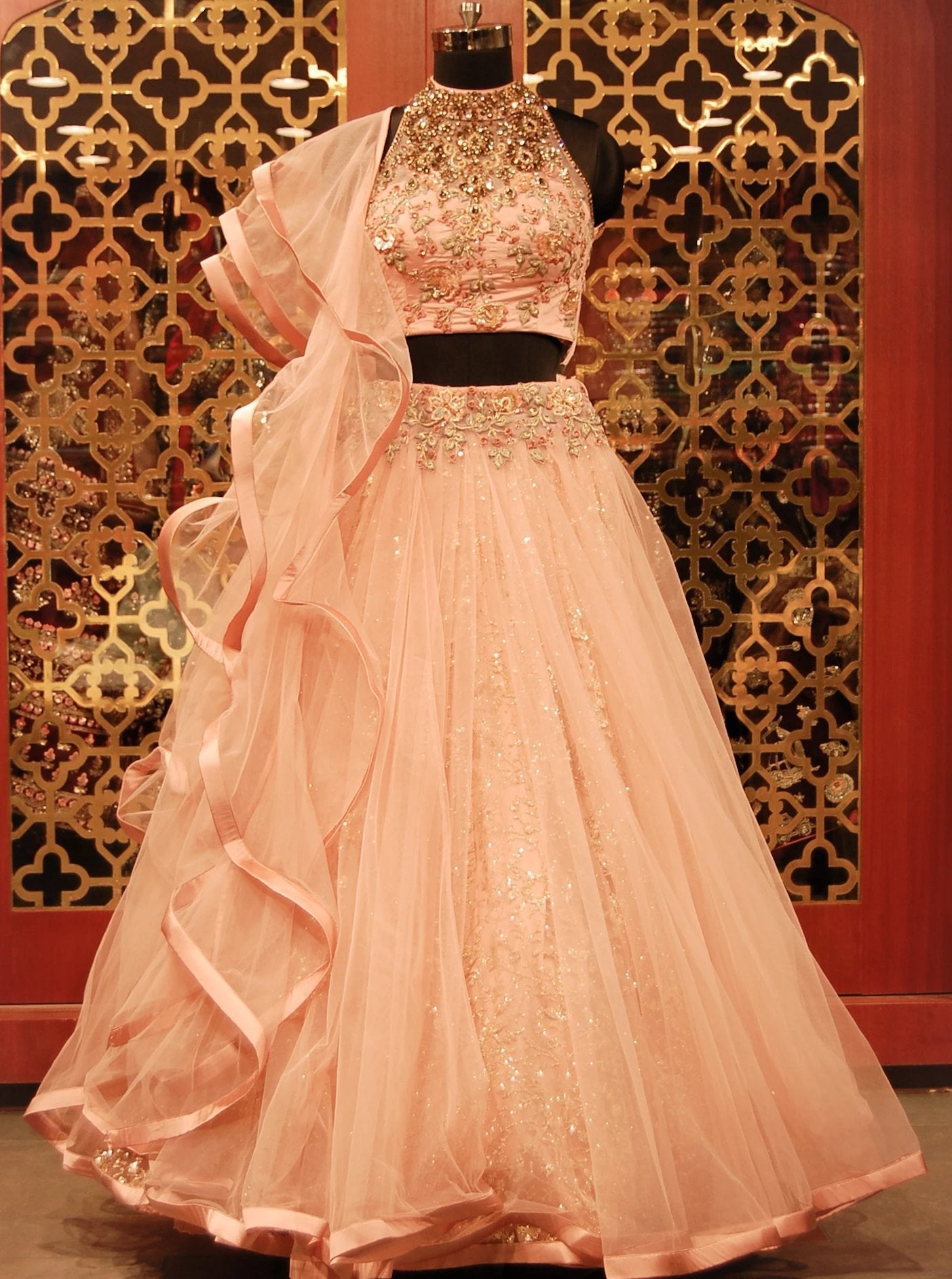Rose Pink embroidered Lehenga