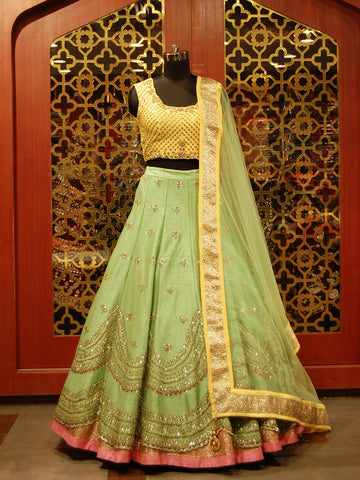 Yellow and pista green silk Lehenga