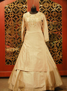 Champagne Gold Silk Shirt with Banarasi Lehenga