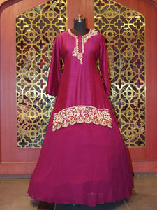 Wine silk shirt with georgette Lehenga