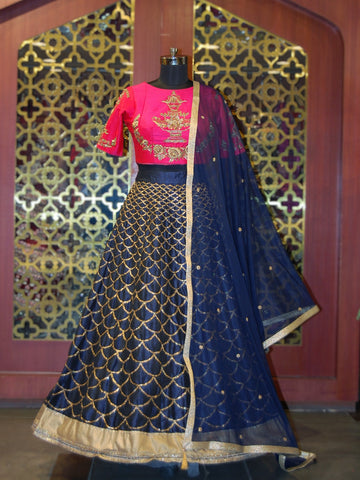 Royal Blue and Rani Pink Raw Silk Lehenga