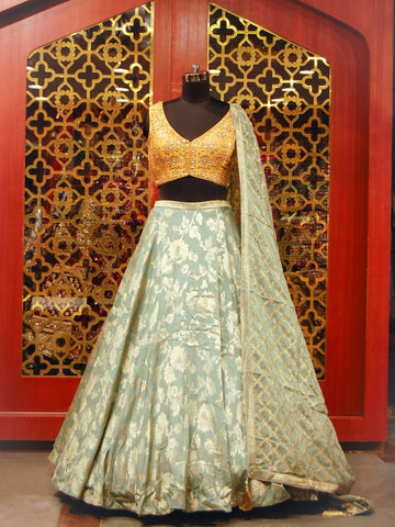 Spruce Green and Mustard Yellow Lehenga