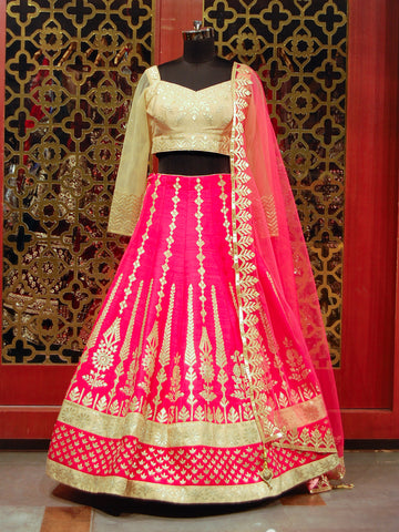 Fuchsia pink and golden Lehenga