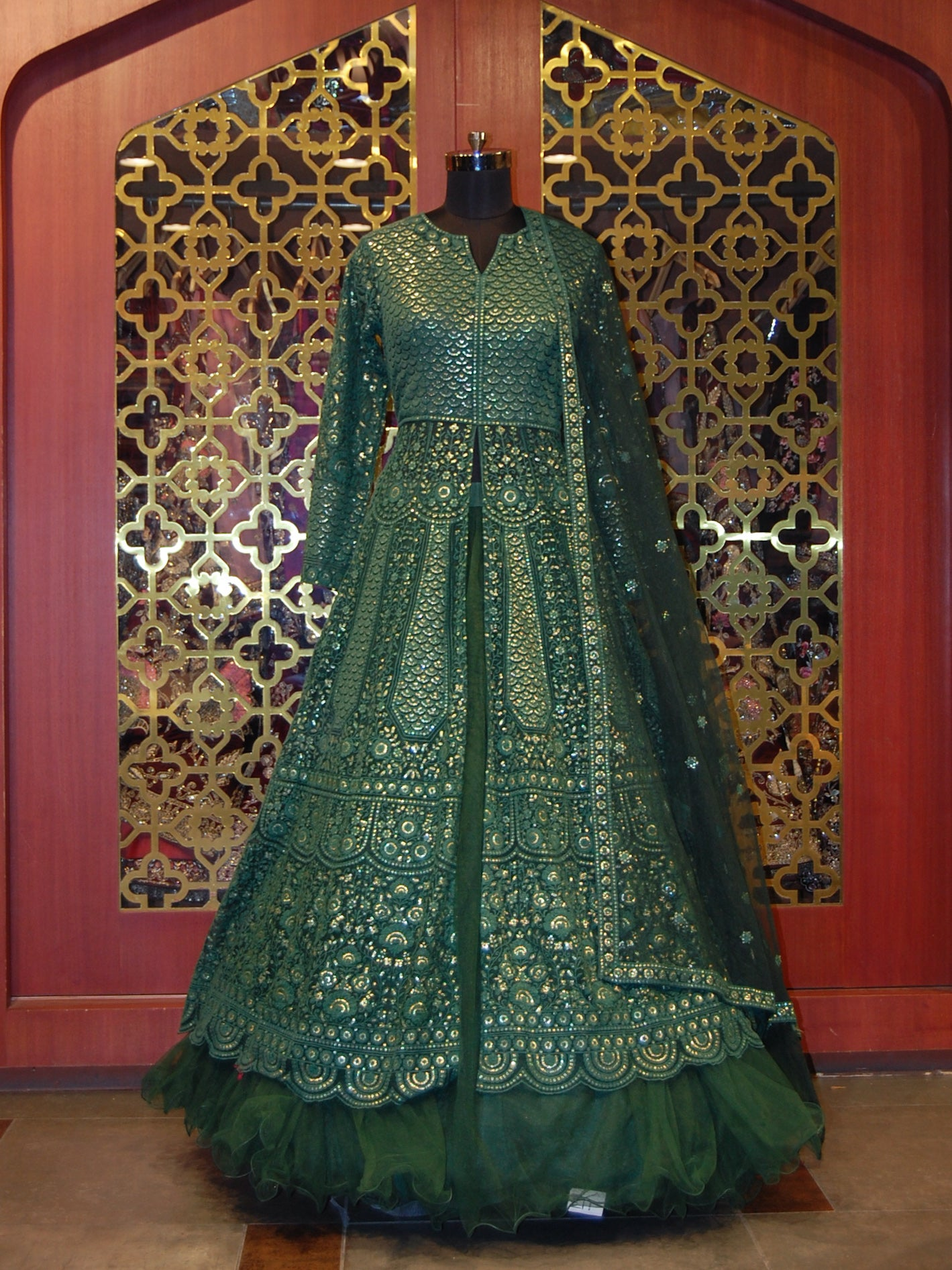 Forest Green Embroidered Net Anarkali with Skirt