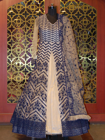 Beige Anarkali with Contrasting Blue Embroidery