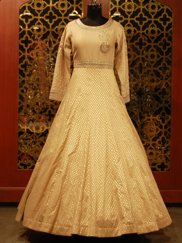 Golden Beige Silk Embroidered Banarasi Anarkali