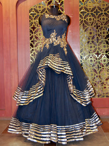 Blue Ruffled Net Embroidered Gown