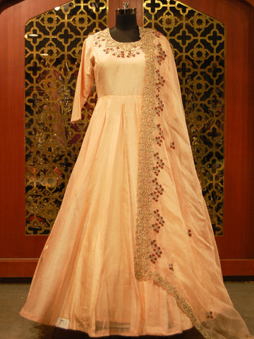 Off White Thread Embroidered Anarkali