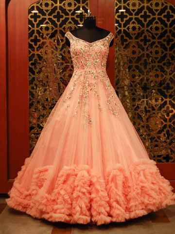 Peachish Pink Embroidered Net Gown