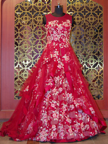 Cherry Red heavily Embroidered Net Gown