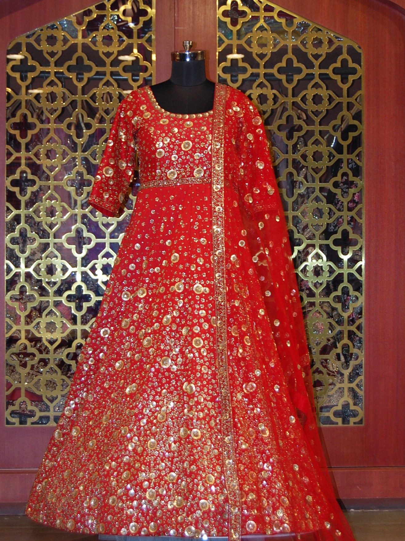 Cherry Red silk gold embroidered Anarkali and Net Dupatta
