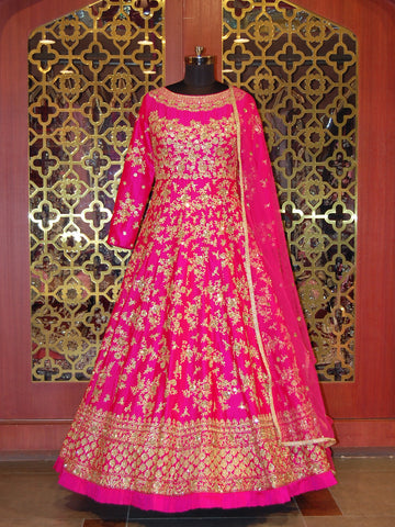 Fuchsia pink embroidered silk Anarkali
