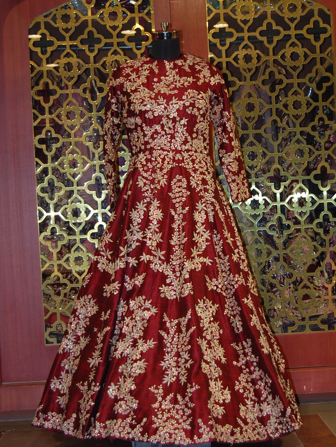 Maroon silk floral embroidered Anarkali
