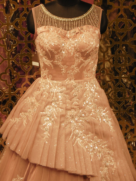 Powder Pink Gown in Net and Silk Floral Embroidery