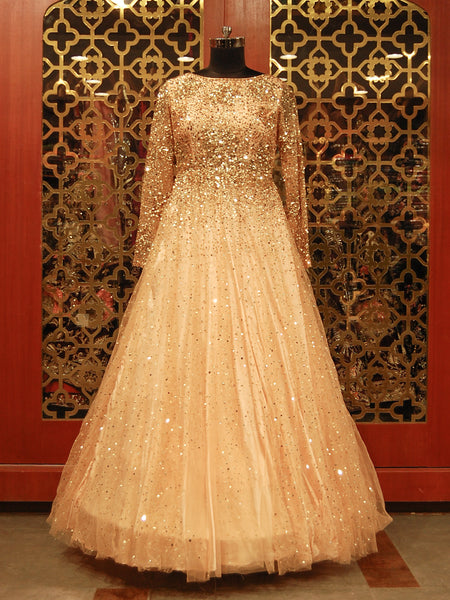 Powder Peach Sequined Gown