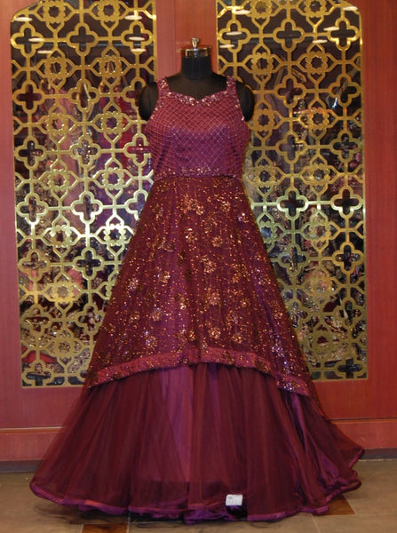 Wine Embroidered Indowestern Gown in Net and Silk