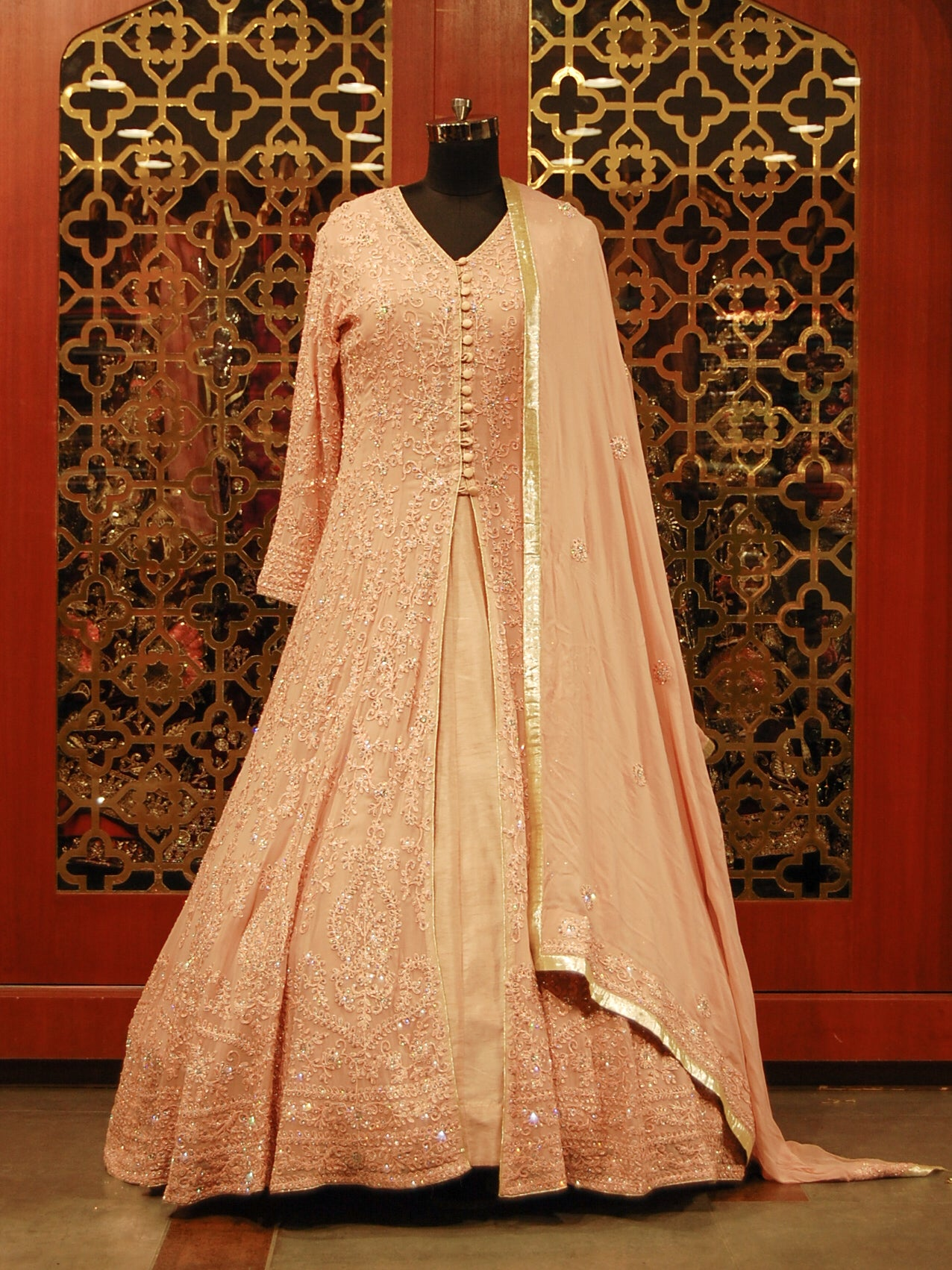 Peach Silk Anarkali with Embroidered Georgette Jacket