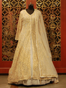 Grey Silk Anarkali with Embroidered Net Jacket