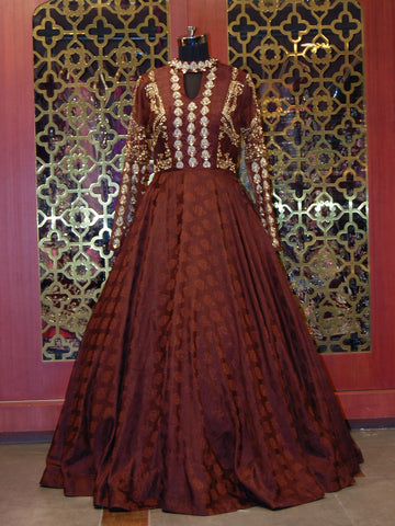 Maroon Silk Embroidered Anarkali