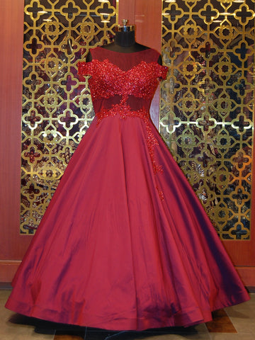Red Silk and Net Embroidered Western Gown