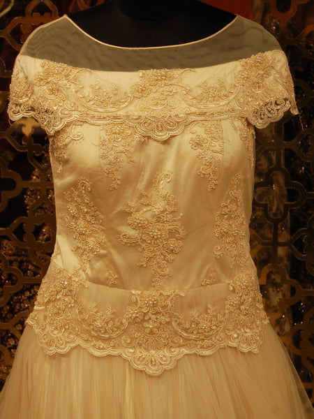 Cream Lace and Beads Embroidered Net Indowestern Gown
