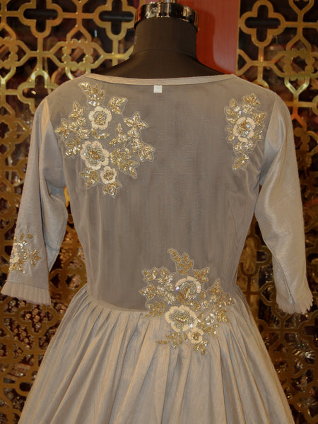 Taupe Grey Embroidered Indowestern Silk Dress