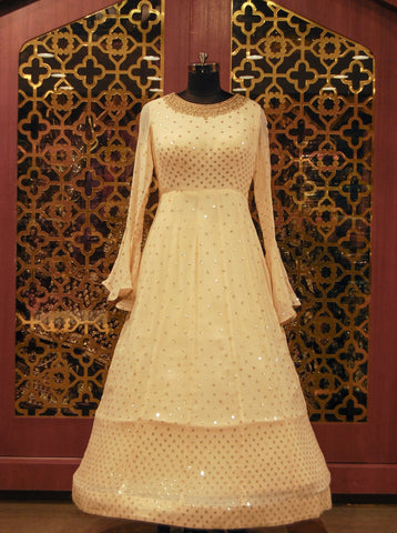 Ivory Embroidered Indowestern Dress
