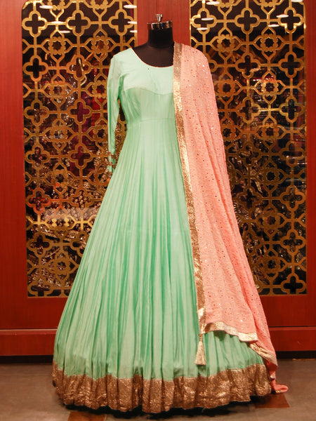 Sea green and Peach Anarkali