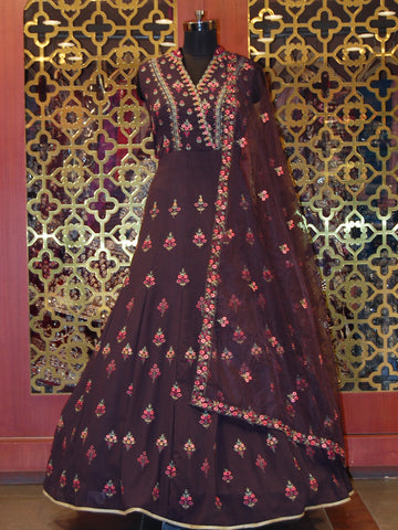 Dusty Wine Embroidered Georgette Anarkali