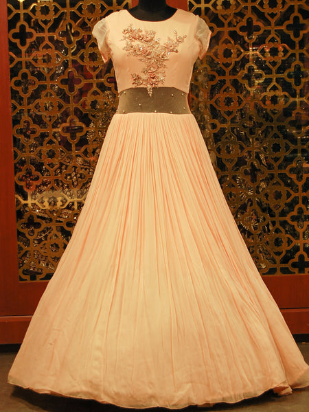 Peach Indowestern Georgette and Net Dress with Net Cape