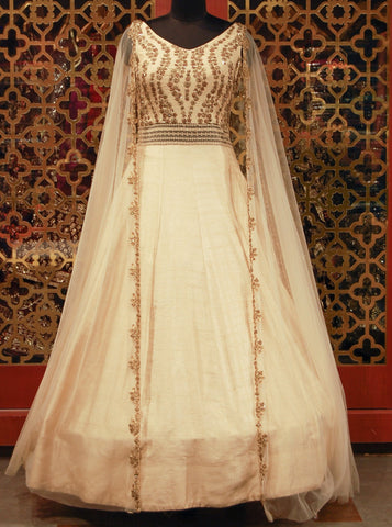 Cream Embroidered Indowestern Gown with Draped Sleeves
