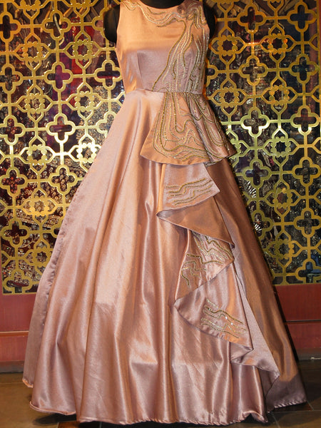 Pink Champagne Silk Frilled Gown
