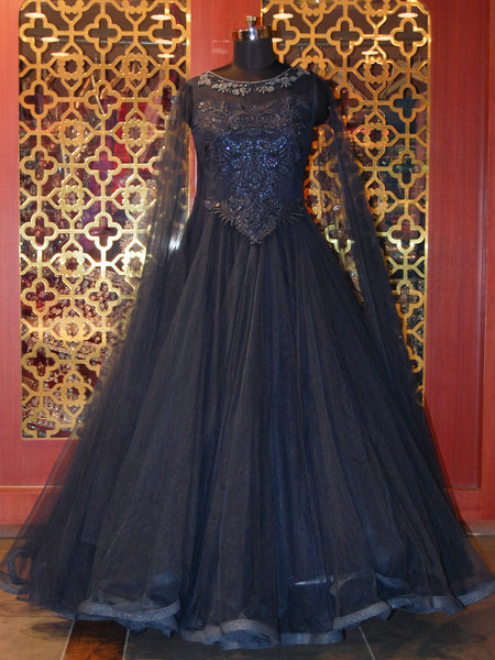 Midnight Blue Net Gown with Draped Sleeves
