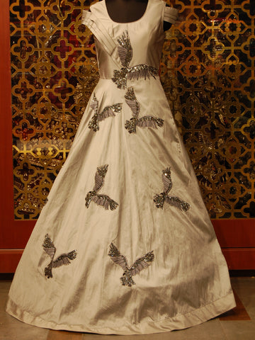 Grey Silk Indowestern Dress with Bird Motifs