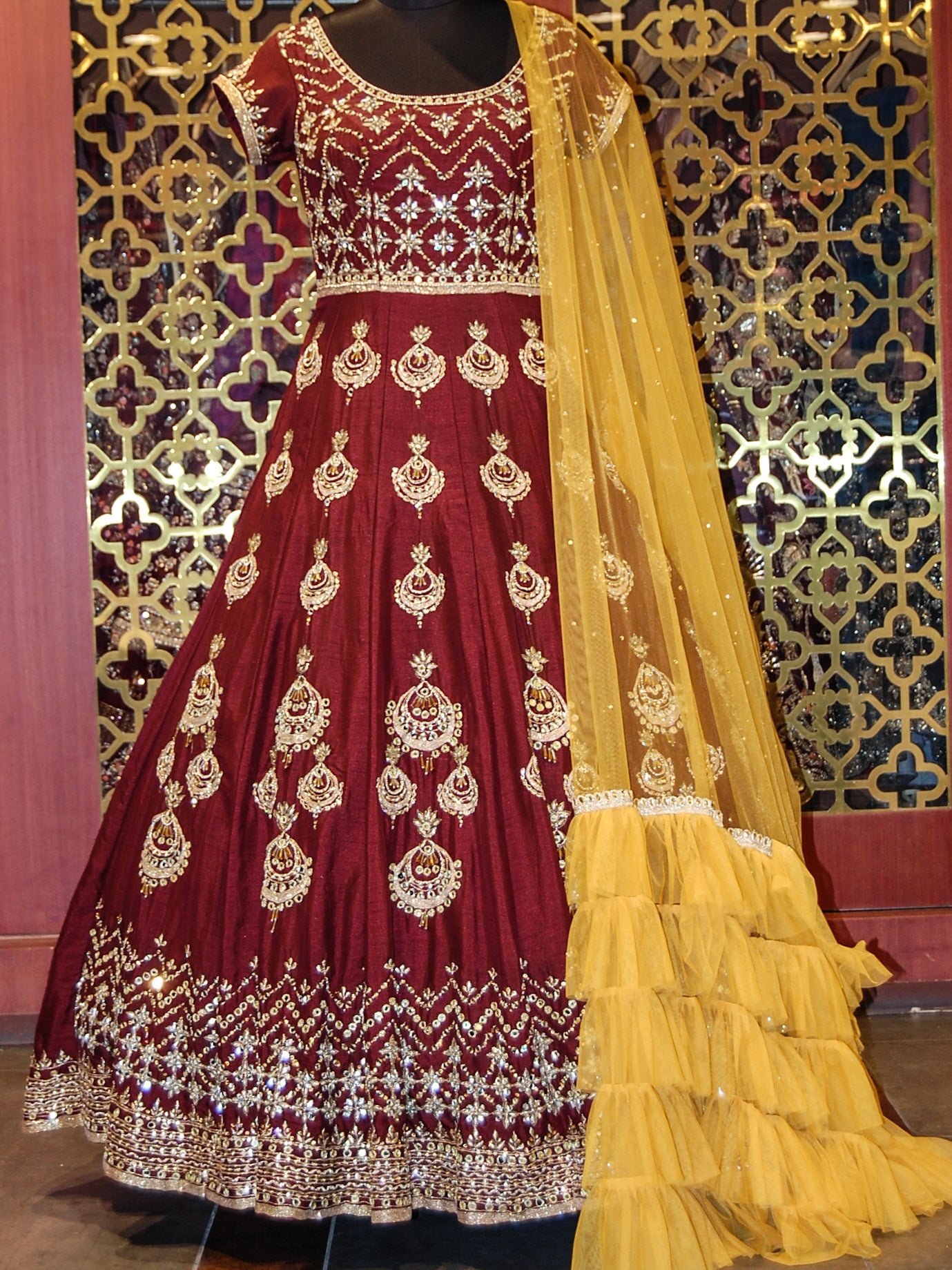 Maroon Heavily Embroidered Anarkali with Yellow Dupatta