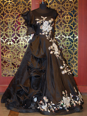 Black Floral Embroidered Organza Ruffled Gown