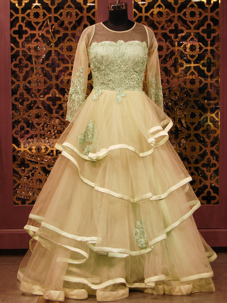 Powder Green Embroidered Net Ruffled Gown