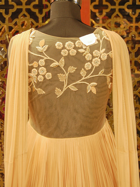 Apricot Peach Indowestern Gown and Attached Dupatta