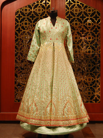 Resham and Zari, Gotta in Silk Embroidered Indowestern Anarkali