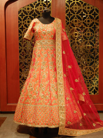 Orange and Red Embroidered Anarkali