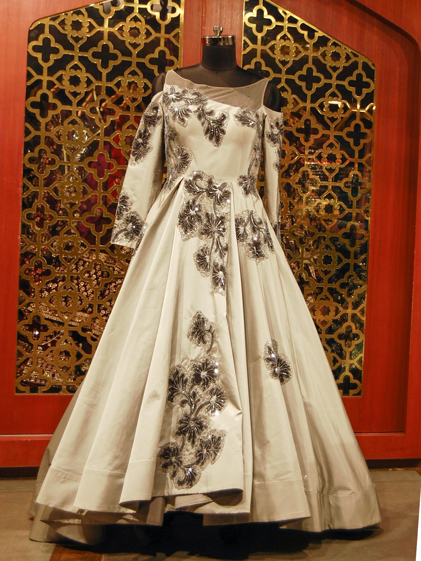 Grey Sequined embroidered Gown in Silk