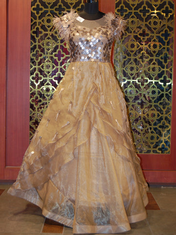 Brown Embellished Organza Gown with Feather Detailing