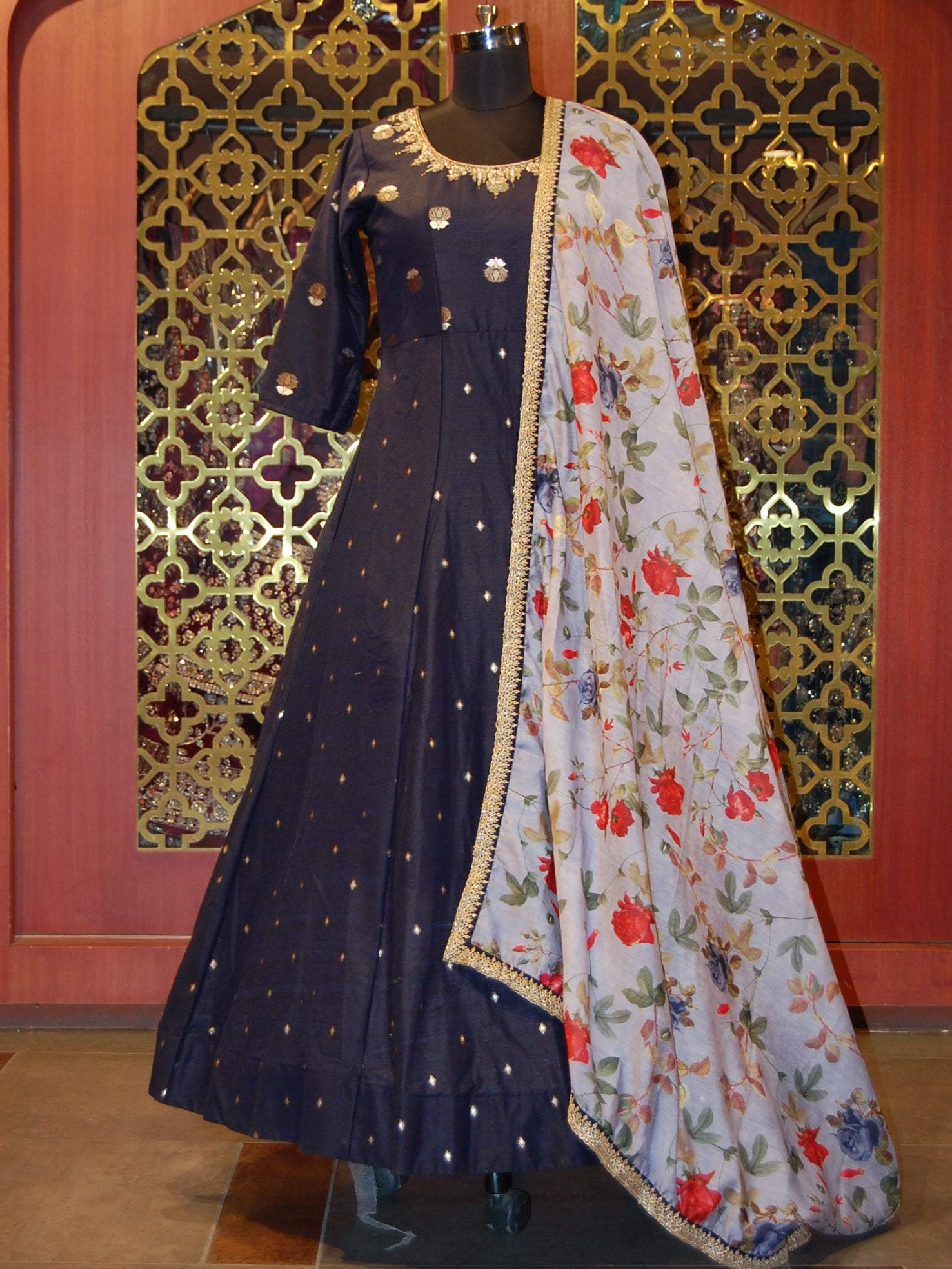 Navy Blue Silk Weaved Anarkali with Printed Dupatta
