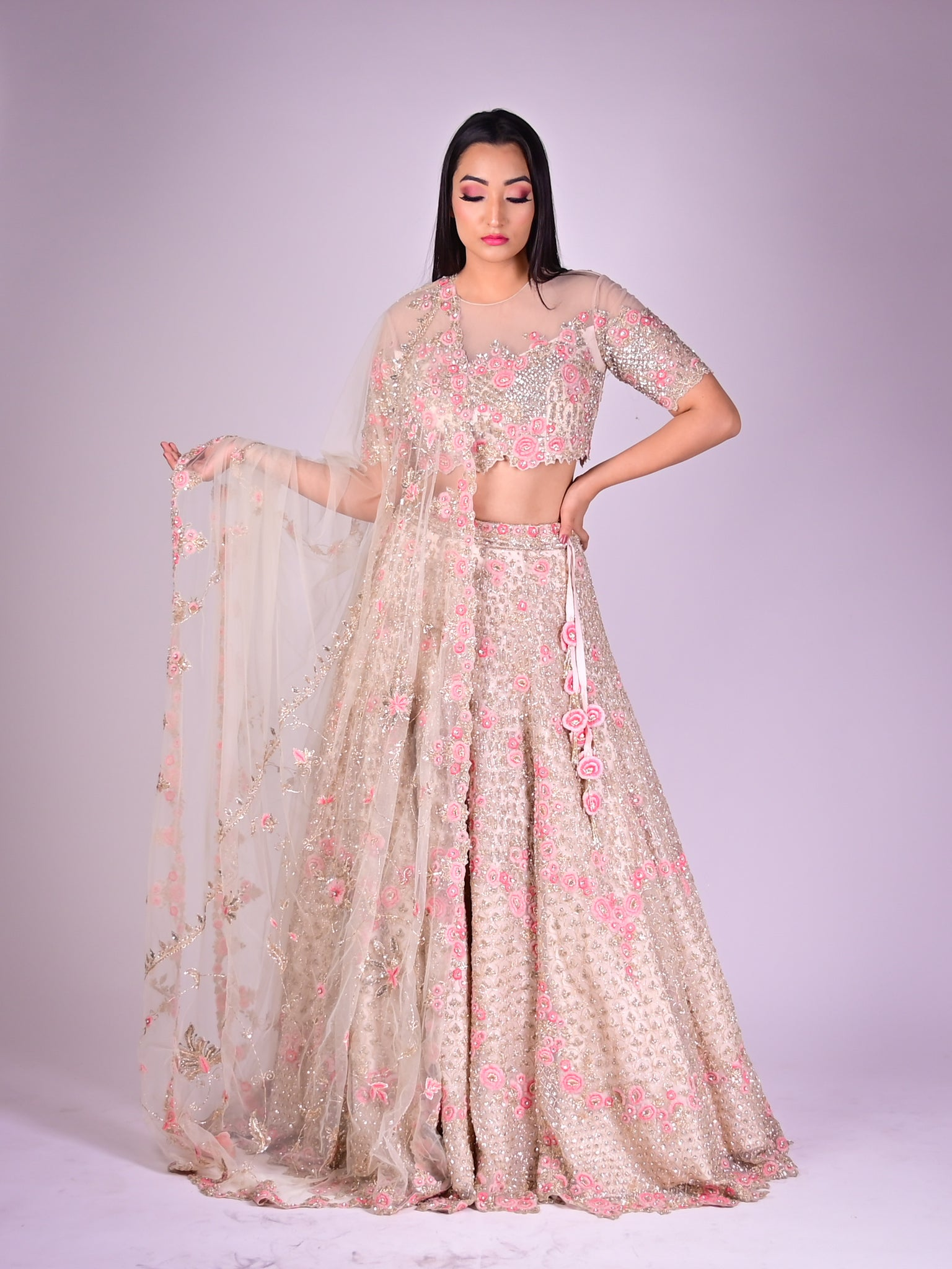 Ivory Lehenga Choli With Pink Floral Motifs In Organza