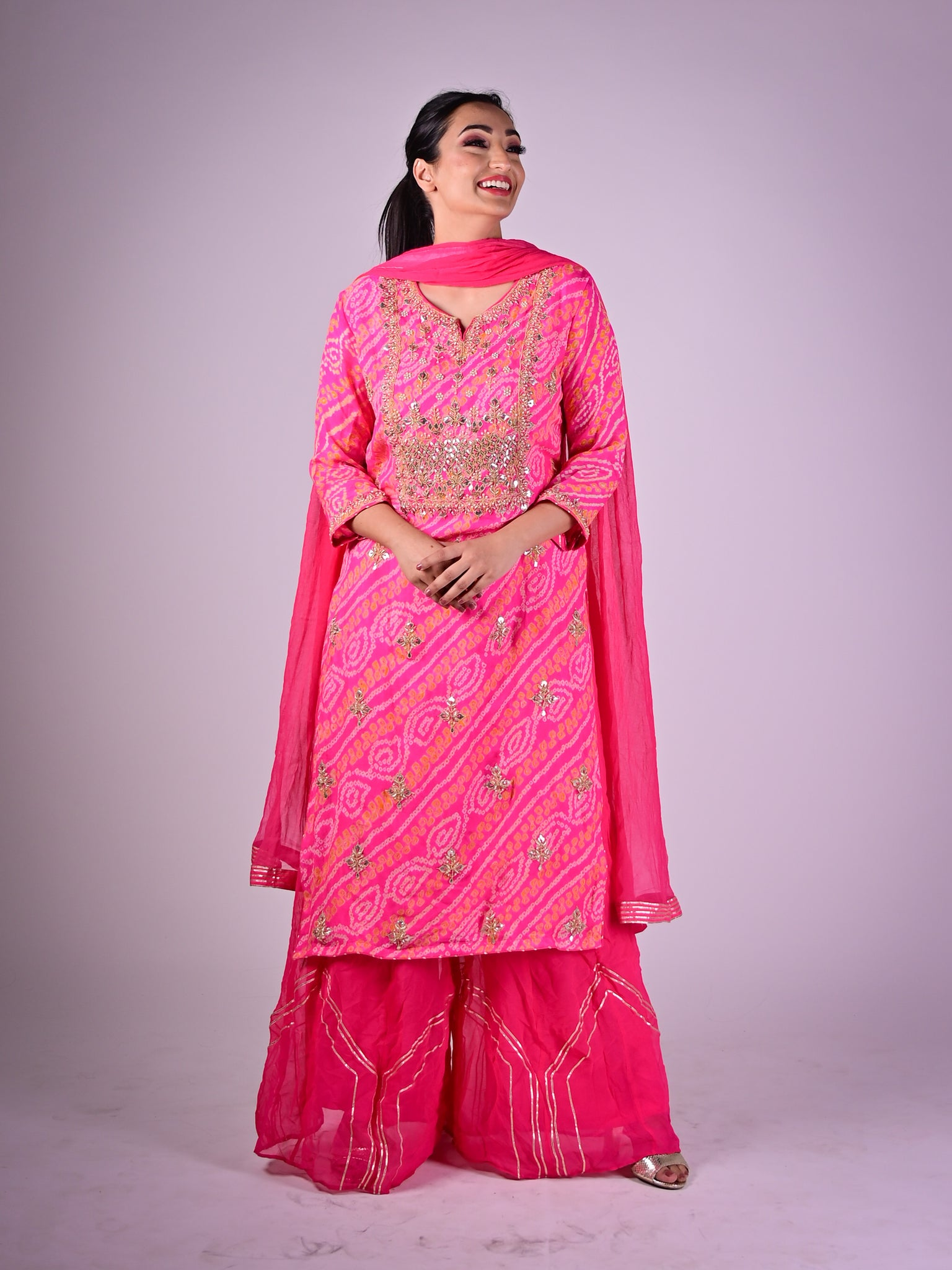 Bubblegum Pink Pallazo Suit With Bandhani Print And Floral Embroidery